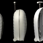 The Hero Upright – luxury, rib cage shaped piece of luggage