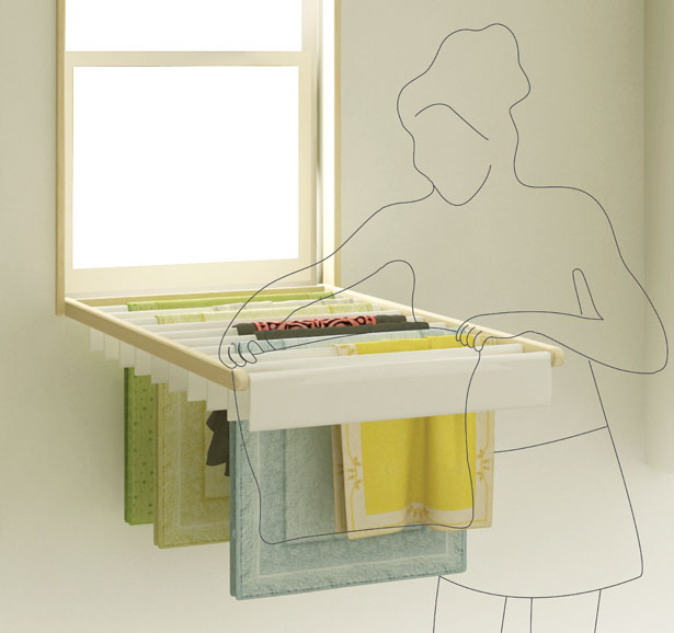 Blindry - turns the window blinds into an indoor laundry